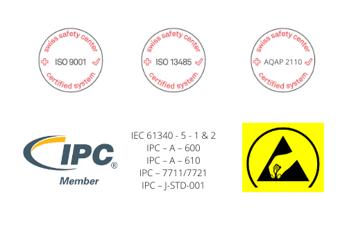 ISO9001  ISO13485  IPC Member  IPC – A – 600  IPC – A – 610  IPC – 7711/7721  IPC – J-STD-001  AQAP2110  ESD Conform Facility